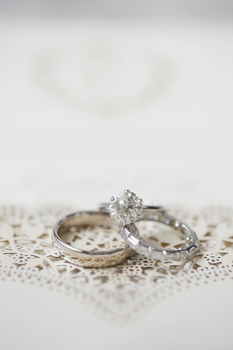 Stunning set of a diamond engagement ring, diamond wedding band and platinum wedding band