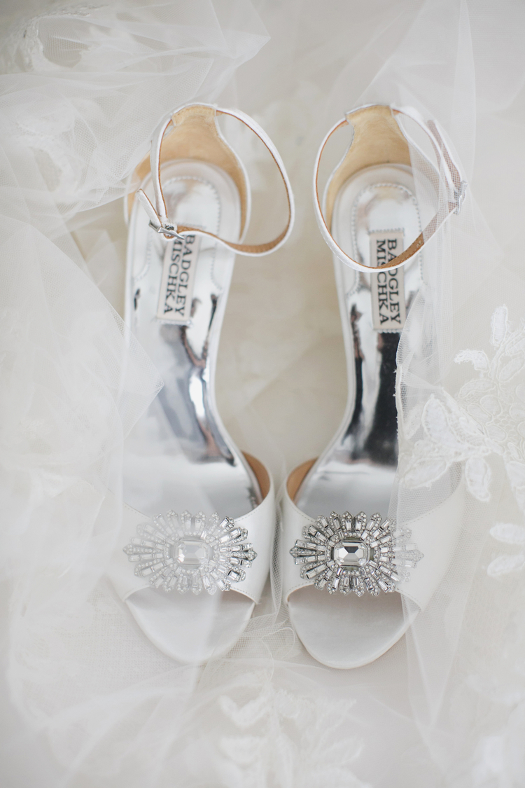 White wedding pumps with crystals on the toes