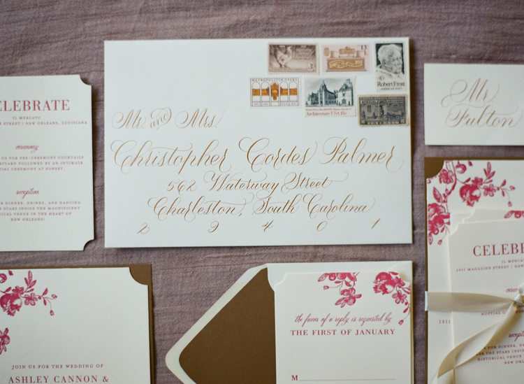 Beautiful calligraphy on a wedding invitation with a stamp story