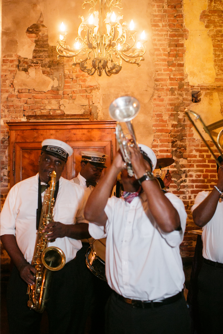 New Orleans second line band playing the saxophone   and trumpet