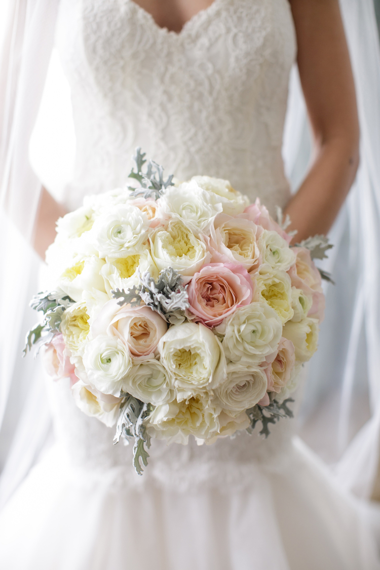 Lush White, pink, yellow and green bridal bouquet