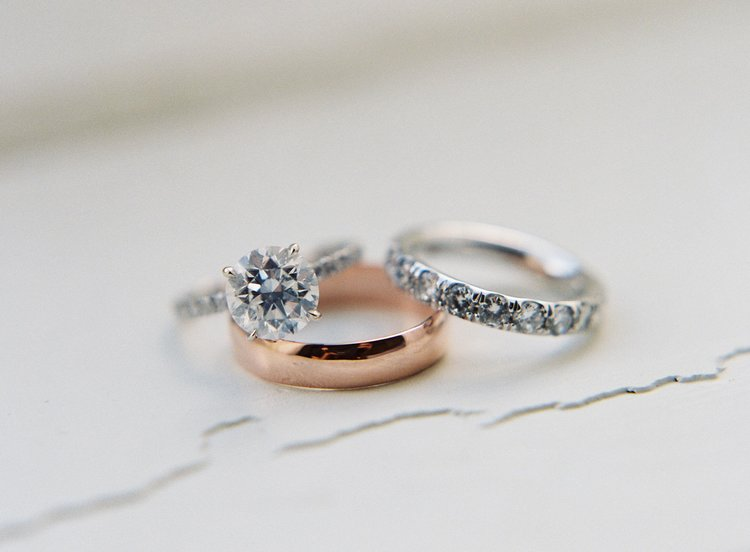 Beautiful wedding bands close up photo