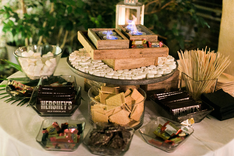 S'more bar with chocolate, gram crackers, marshmallows