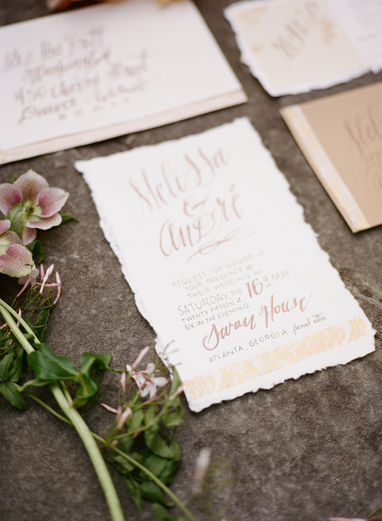 romantic wedding invitations on rough cut paper with blush calligraphy