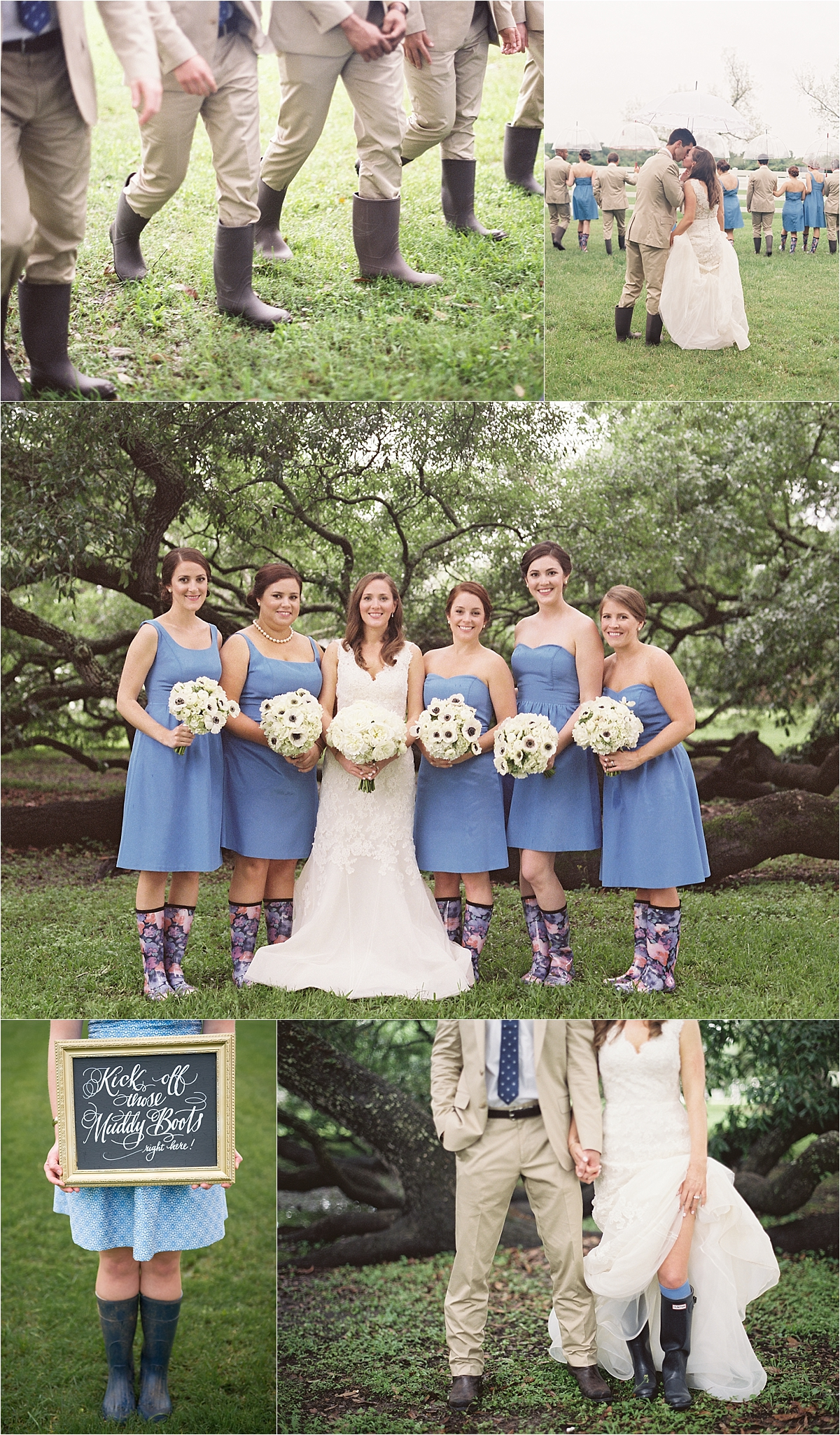 Groomsmen in khaki and rain boots, bridesmaids in short blue dresses and colorful rain boots