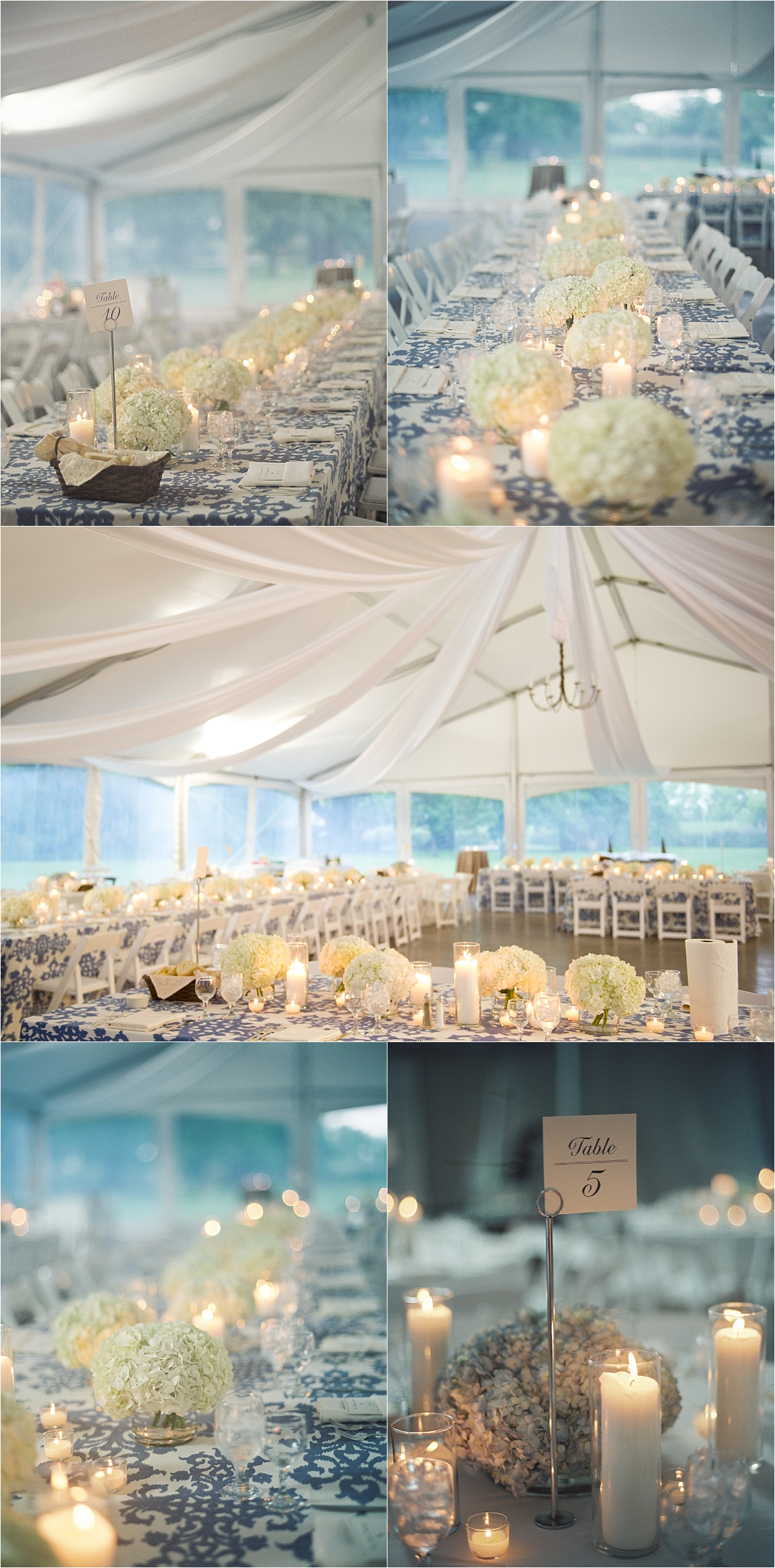 White and blue table linens with white hydrangeas lining the table with tea lights and candles