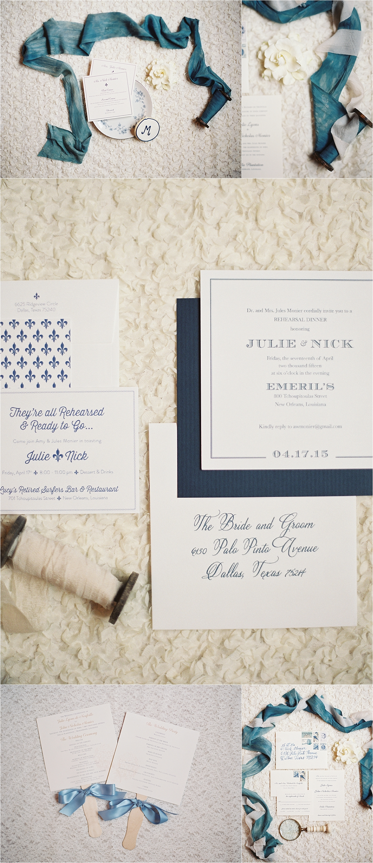 ivory and dark teal invitations with delicate blue ribbon