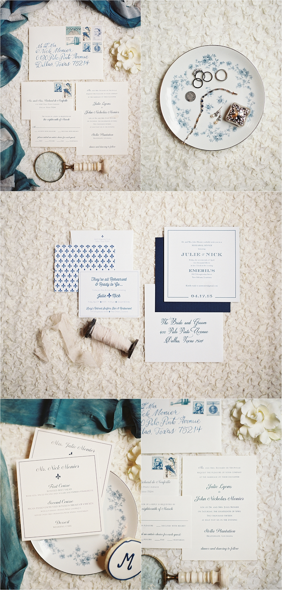 light blue, ivory and dark blue wedding invitation suite, wedding rings and jewelry on a white and blue china dish