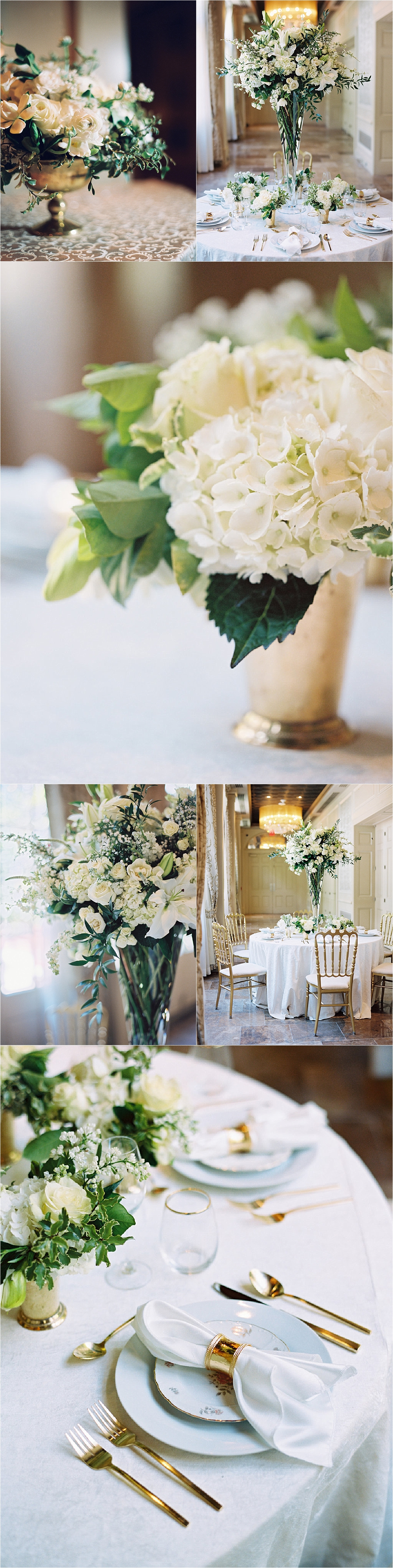 White and green floral arrangements in gold vases at the wedding reception