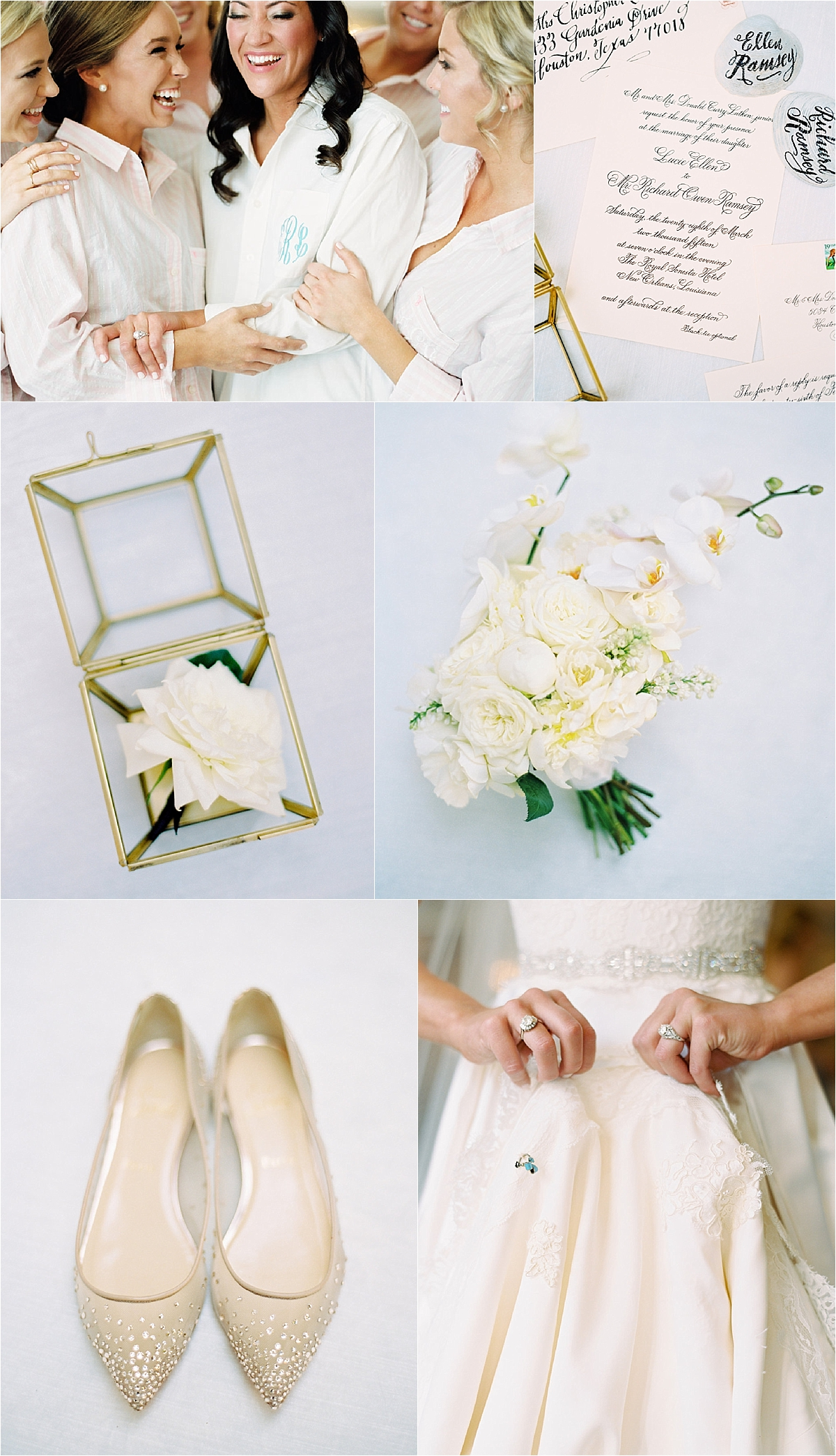bride and bridesmaids laughing in their white robes with blue monograms, white rose bouquet, gold studded flats, black and white calligraphy invitation