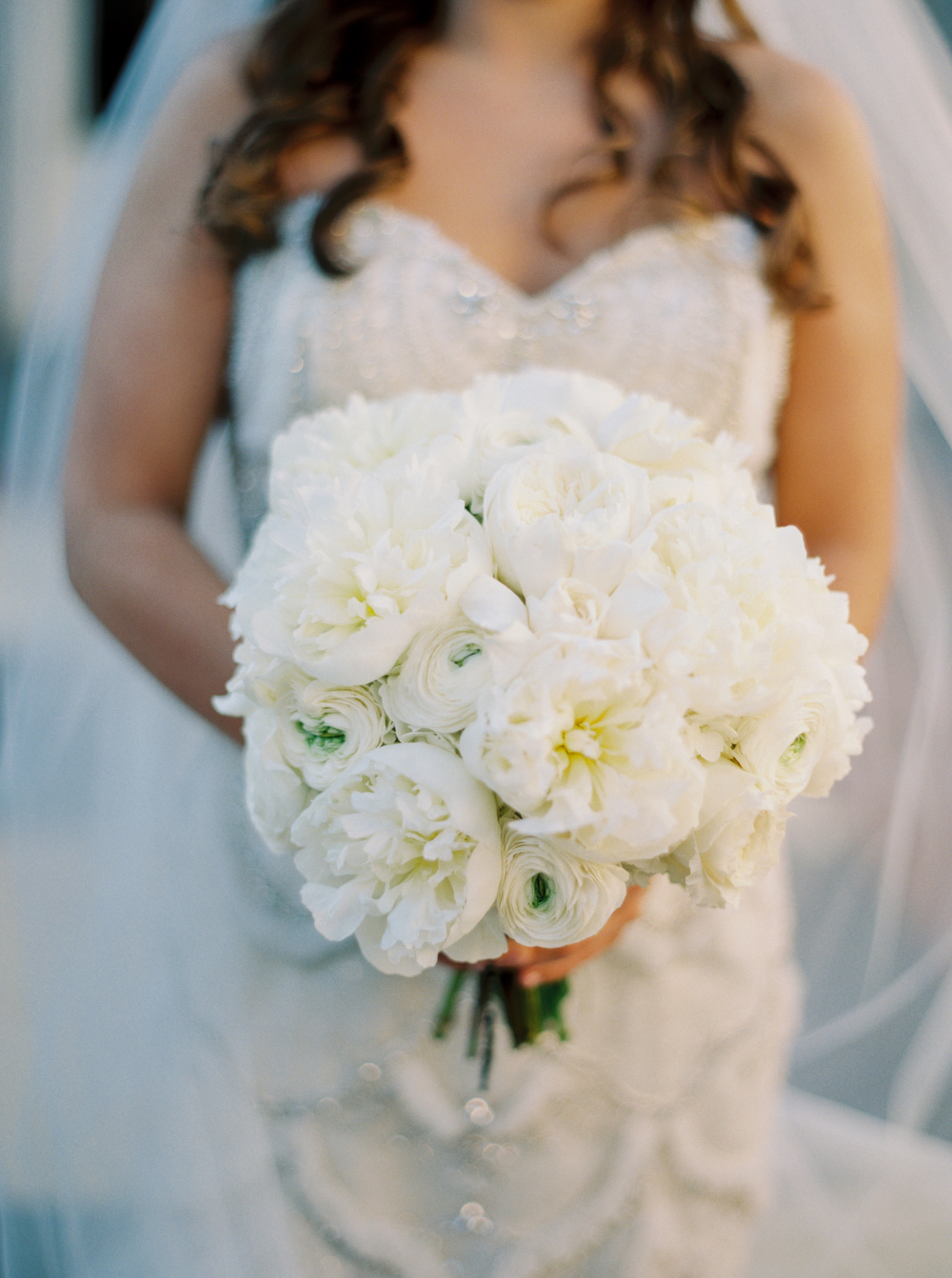 closeup of white peonies and white garden roses in a bridal bouquet being held by a bride