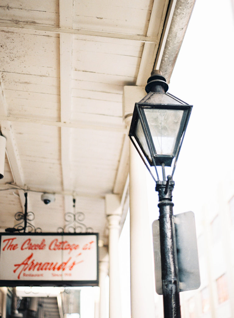 lamp post from new orleans french quarter outside arnaud's creole cottage entrance