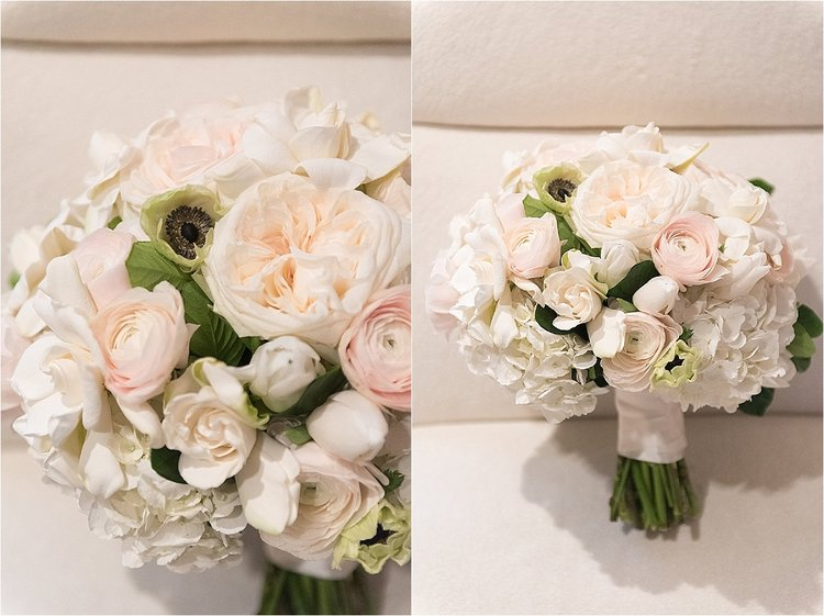 lush bouquet of white flowers, peonies, rancullas, roses, greenery