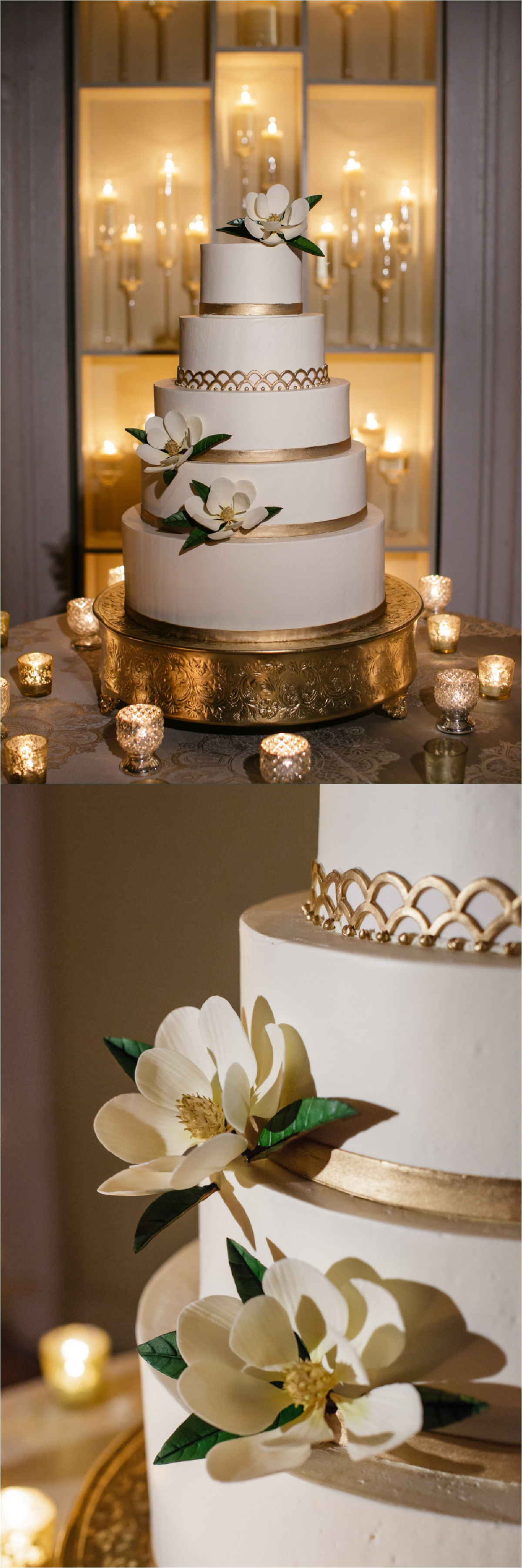 detail shots of white and gold wedding cake with magnolia flower details in front of a wall of candle light