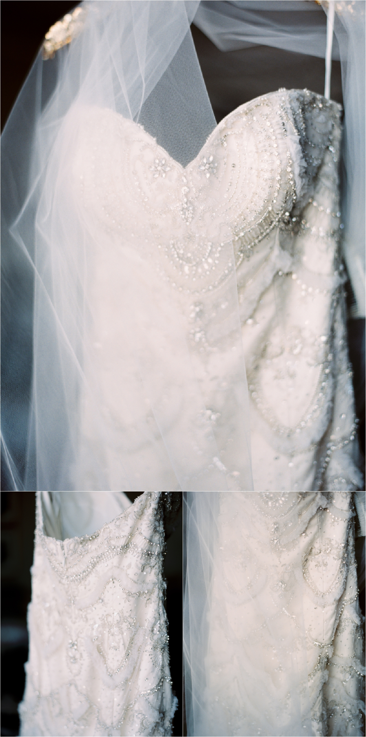 beaded bridal gown hanging with veil over a gold hanger