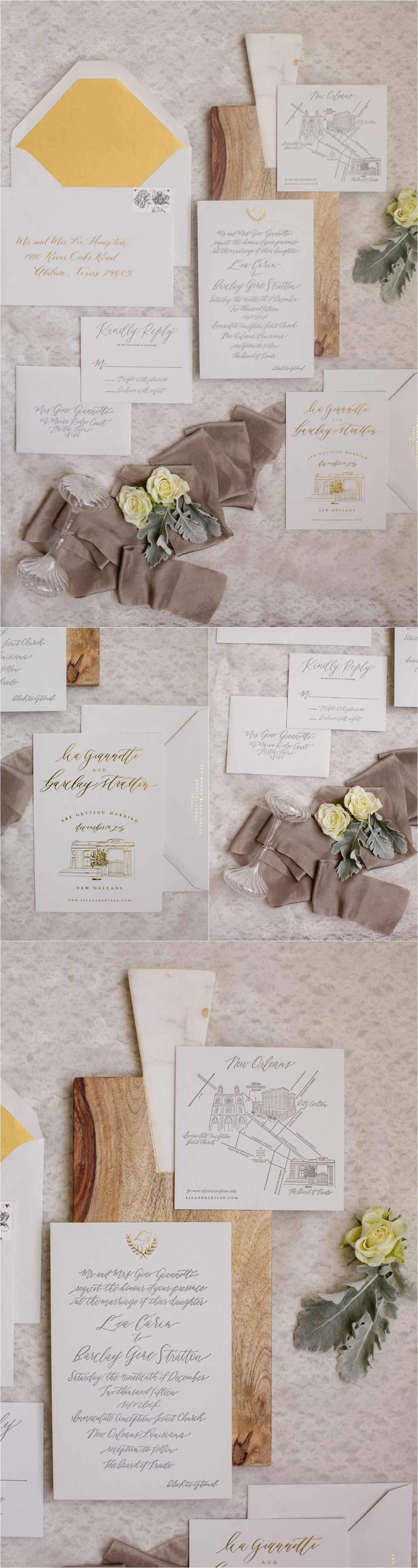 wedding invitation details with white paper stock and gold envelope liner, gray silk ribbon and floral details