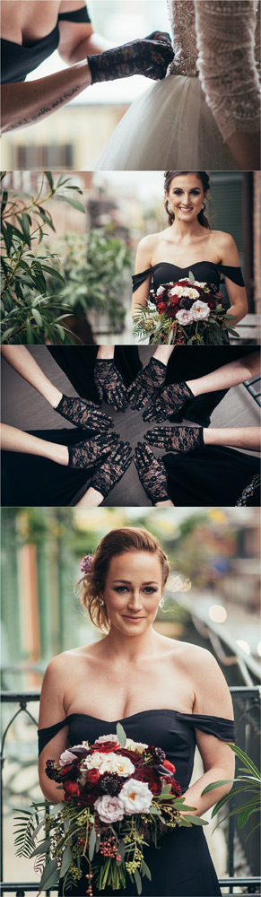 Bridesmaids in their black lace gloves and posing on the balcony