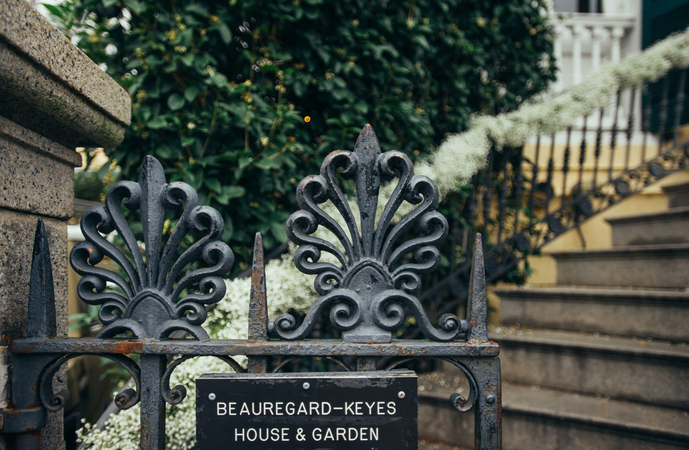 Beauregard Keyes House and Garden plate when you enter the rod iron gate to go up the steps