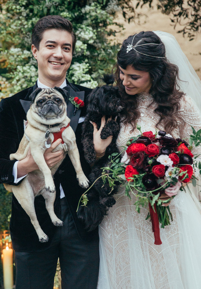 Bride and groom smiling with their two dogs while in her wedding dress and his black velvet tux