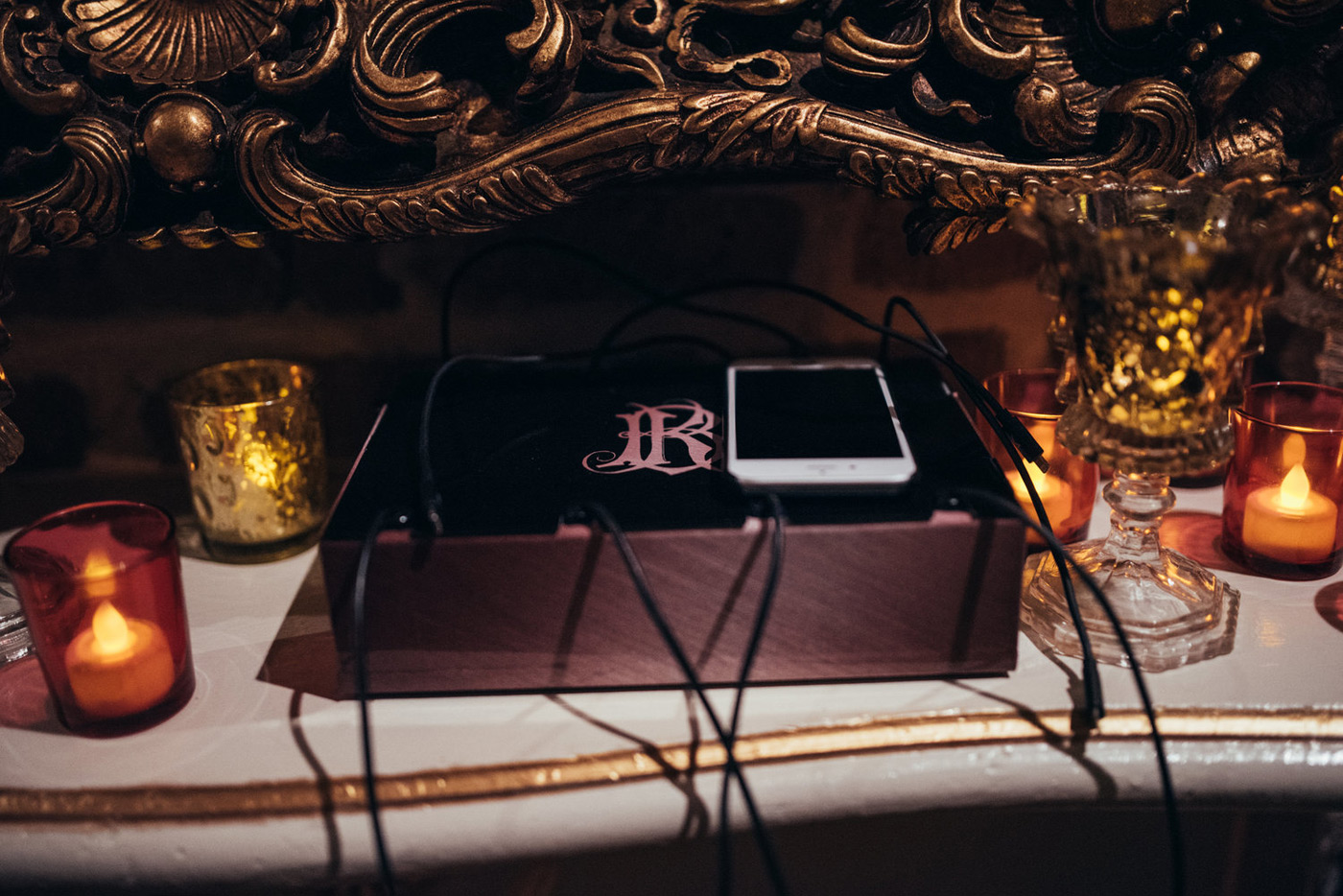 black customized cell phone charging station with monogram