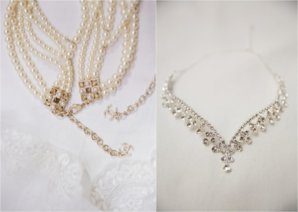 multi-strand pearl beaded necklace and jewel crown