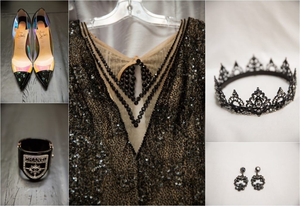 composite of black beaded dress detail, black louboutin heels, black chanel cuff bracelet, black studded crown and drop earrings