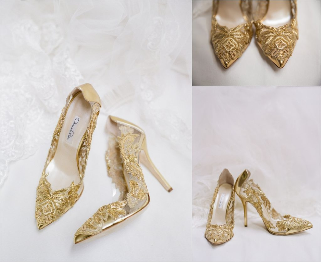 golden oscar de la renta high heel shoes with lace detail