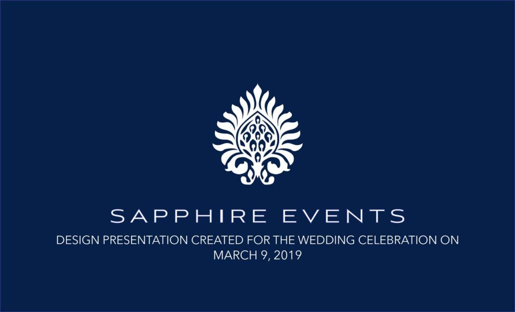 Sapphire Events design plan cover page for marigny opera house wedding ceremony