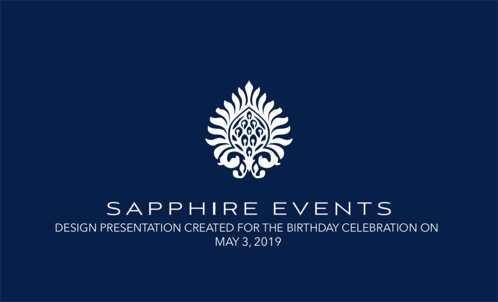 Sapphire Events design plan cover for race and religious birthday party event design