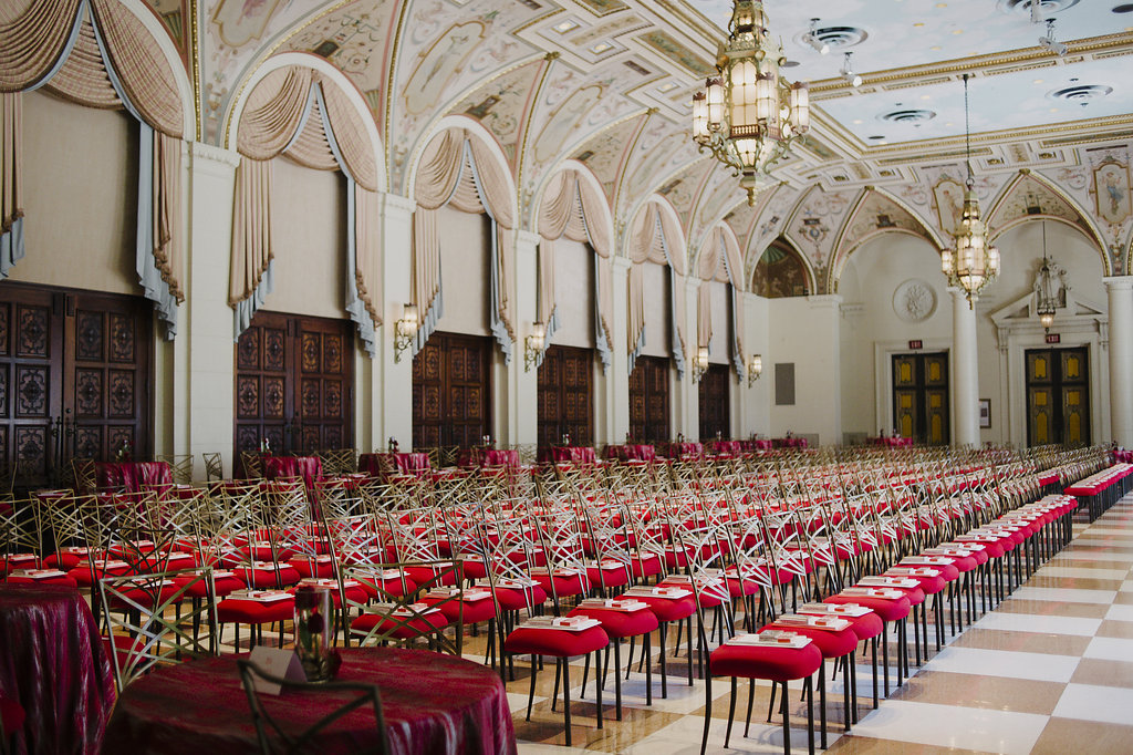 Mediterranean Room at the Breakers with rows of red chairs